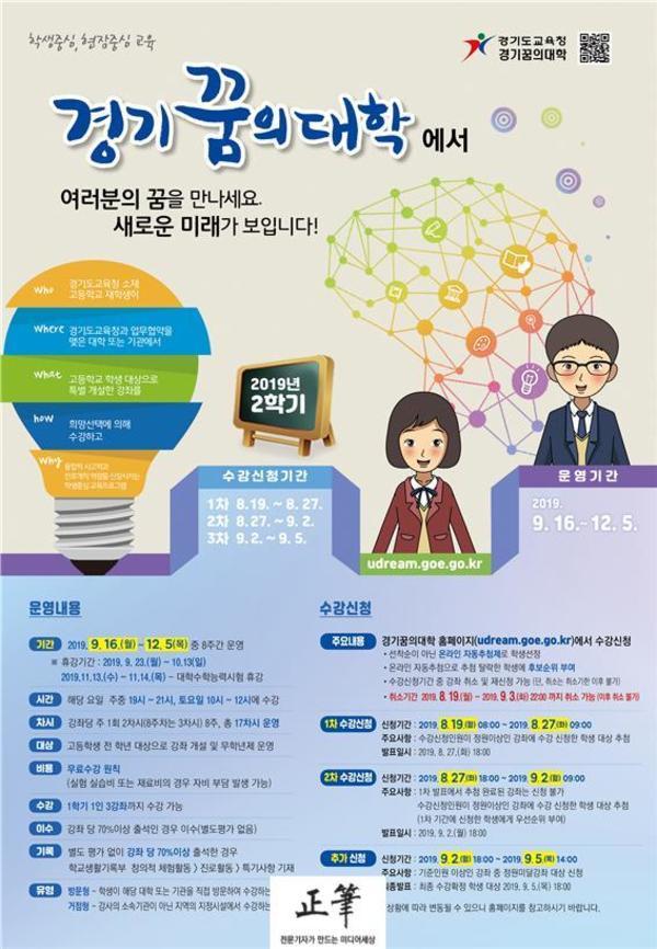 경기도교육청, 2019 경기꿈의대학 2학기 2093개 강좌 개설